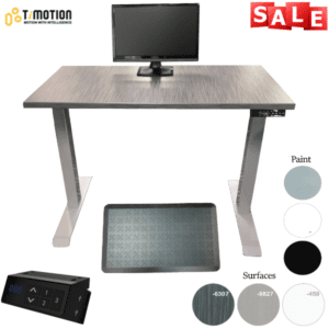 "TiMotion Height Adjustable Desk - Electric TiMotion Control with 2-Stage Base - 48W x 24""D or 30""D"