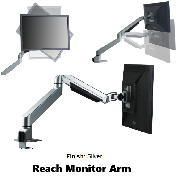 Reach Monitor Arm Single in Silver with Wire Manager
