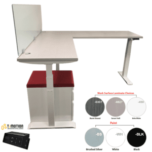 "19""H Frosted Glass Height Adjustable L Shape Desk"