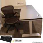 Interior View Left Handed Height Adjustable Desk at Lowest Seated Setting - Sarum Twill Top & White Base