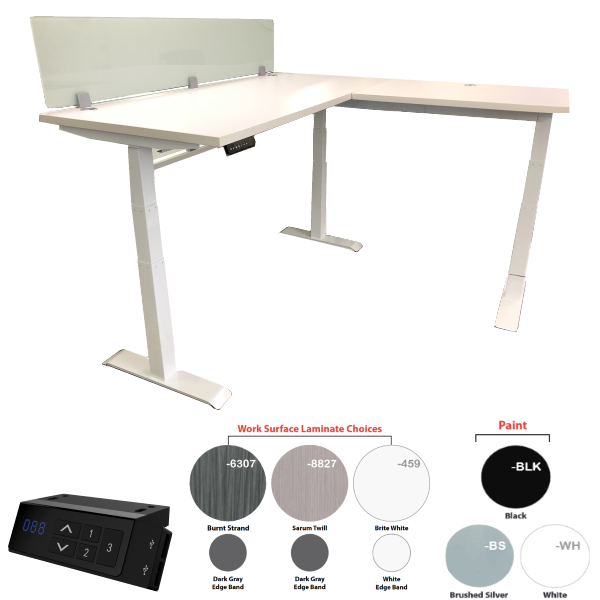 Adjustable Height Standing Desk with Right Return and 12