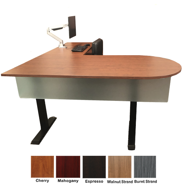 Nexus or Ultra Electric Height Adjustable L-Shaped Bullet Front Desk