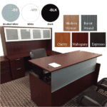 TiMotion Motor Executive Height Adjustable Desk with Credenza and Glass Door Hutch