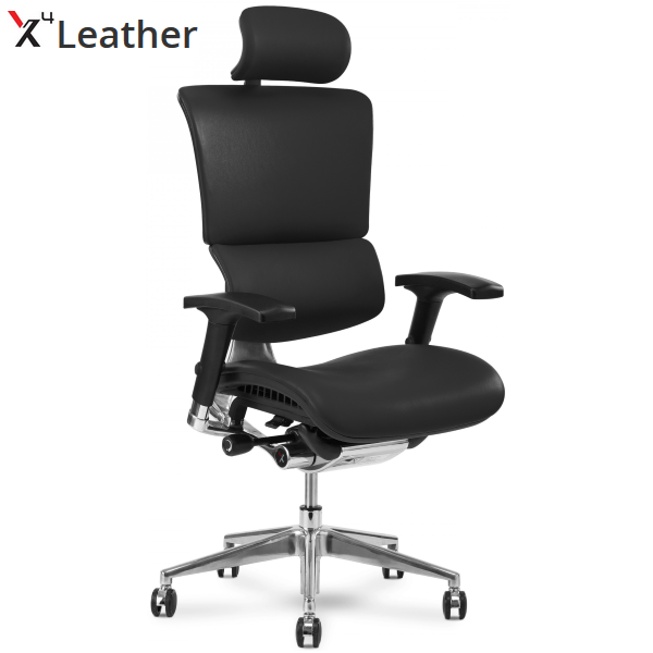 X4 Leather High Back Executive Chair in Premium Black Leather