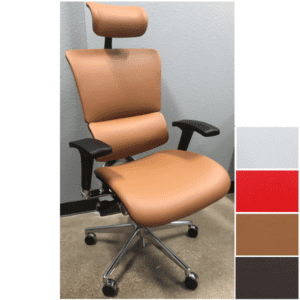 X4 Chair with Headrest - Cognac, Brown, Red or White Leather