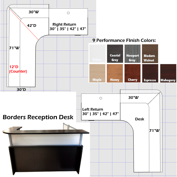 Borders Reception Desk 2D with Curved Interior & Top