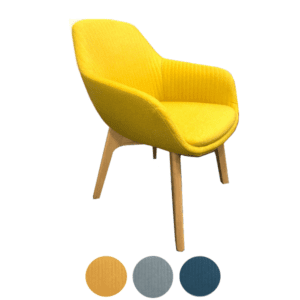 Friant Jest Canary Yellow Guest Chair with Wooden Legs