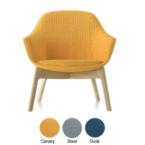 Canary Fabric Jest Guest Chair with Wood Base