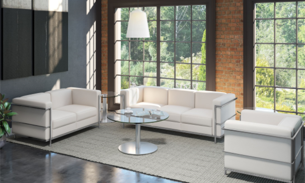 Madison White Leather Club Chair