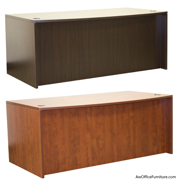 Bow Front Desk with Full Modesty Panel