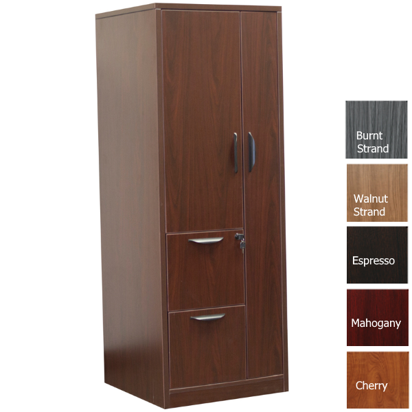 OFD207 Mahogany Storage Tower with 2-Drawer File Cabinet