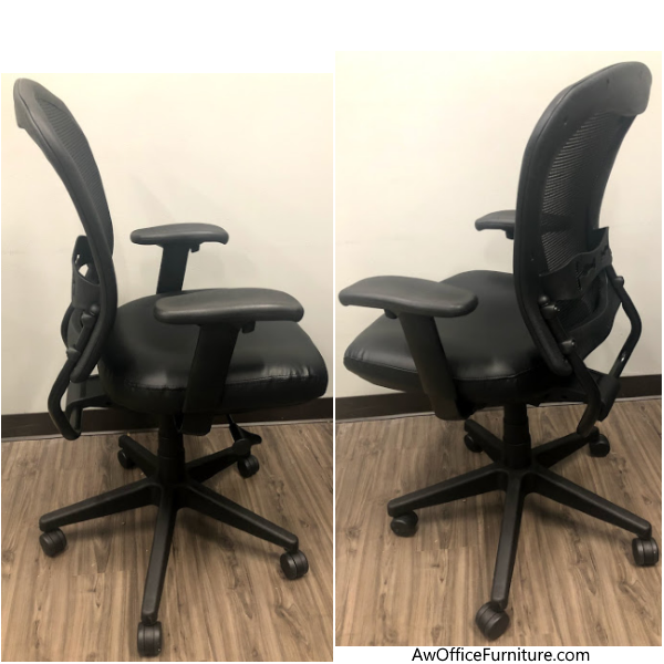 Office Source Task Chair in Black Vinyl and Mesh