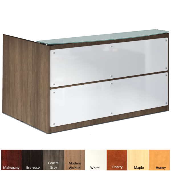Front Mount Frosted Glass Modern Reception Desk