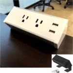 Office Source OSF9500 Desk mount charging block with 2 AC & 2 USB