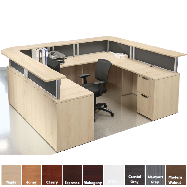 U-Shaped Borders Reception Desk with Transaction Top