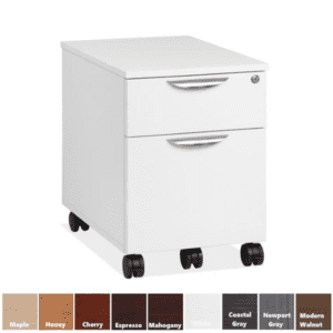 White PL1007 Mobile Storage Pedestal