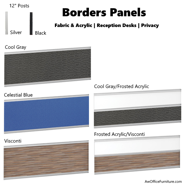 Borders Fabric Panels in Black or Silver