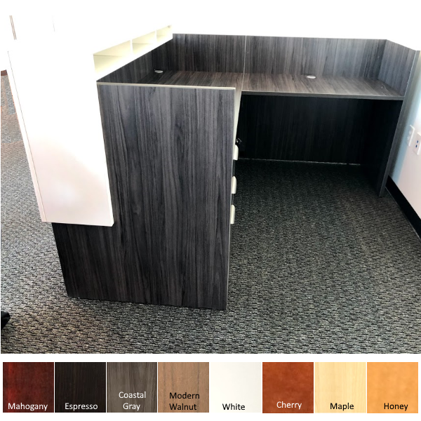 L-Shaped interior reception desk with white overlay counter