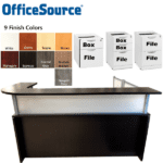 Office Source Reception Desk with Frosted Acrylic with Silver Trim Frame