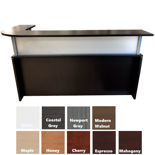 COE Office Source Performance Laminate Reception Desk with Left Curved Transaction Counter
