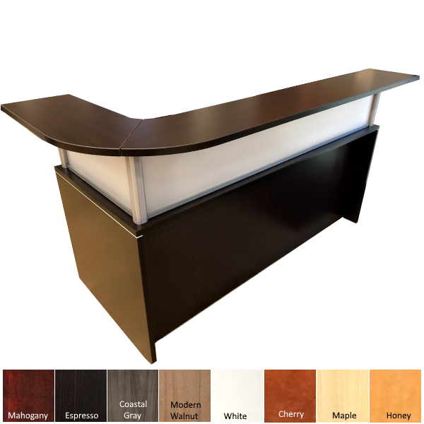 Curved Top Transaction Counter with Standard Reception Desk Base