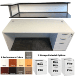 Office Source Performance Laminate Reception Desk - Frosted Acrylic Screen