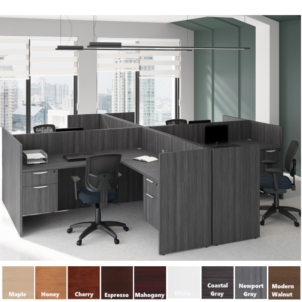 4 Pod Workstations L Desks