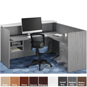 Office Source Performance Laminate L-Shaped Reception Desk with Riser Transaction Top