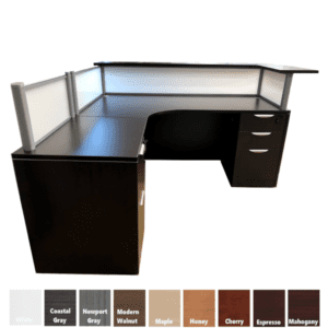 Performance Interior Curve Reception Desk - Espresso Finish