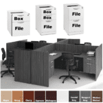 Storage Pedestals for T-Shaped 4 Pod Workstation Desks