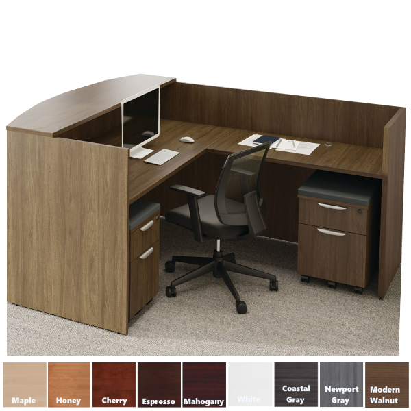Performance Laminate Reception L-Desk with Bow Front Counter - Right Return