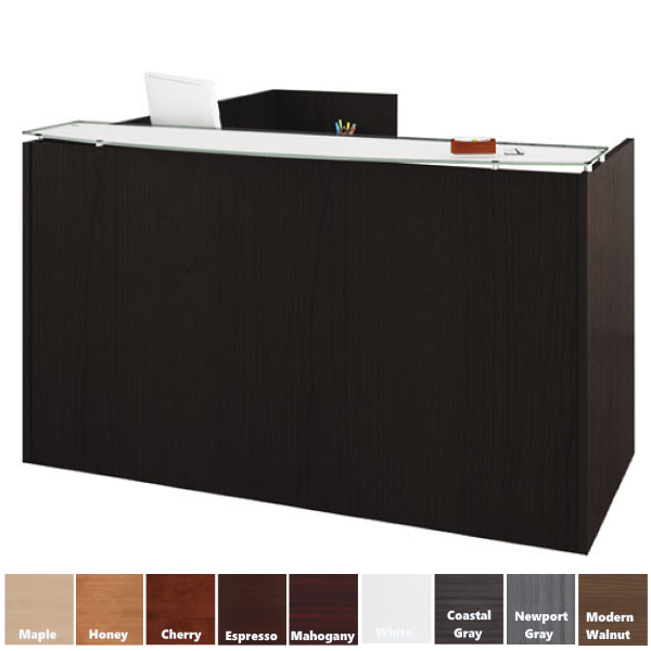 Modern Bow Top Glass Counter Reception L-Desk - 9 Colors