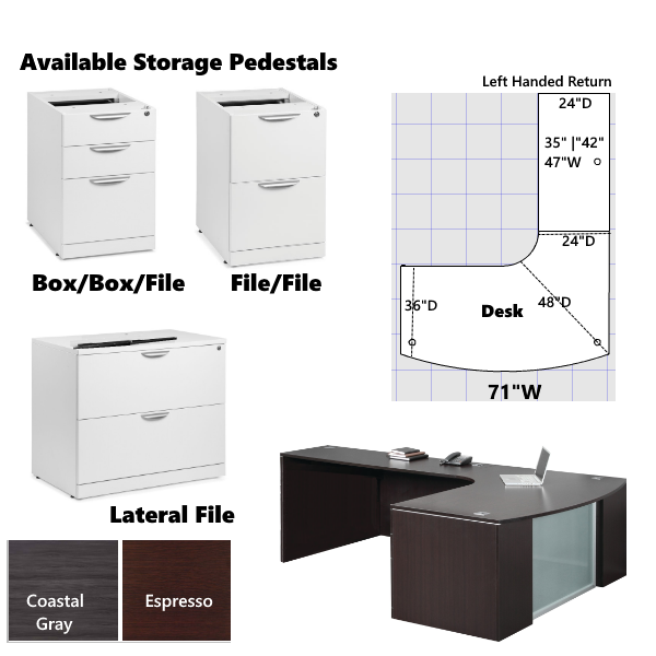 Interior curve step front l shaped desk with D footprint and storage pedestals