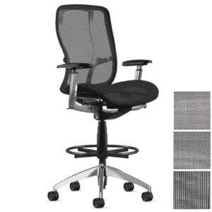9to5 Seating Bar Height Mesh Task Stool with 4 Way Arms