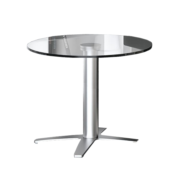 Round Cafe Table - Modern Base - Glass Top