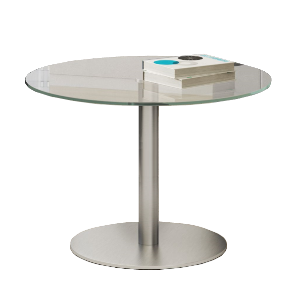 Round Clear Glass Cafe Table with Silver Base