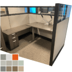 Haworth Height Adjustable Desk Cubicle with Glass Panels