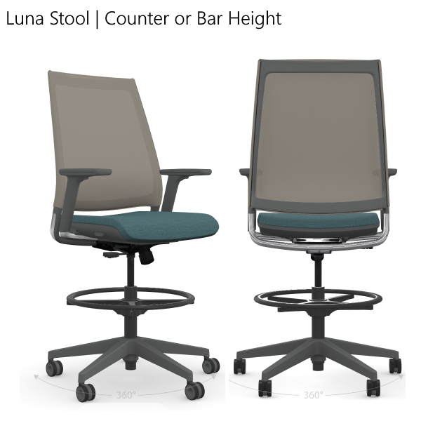 Luna Task Stools Collection - Front and Back View