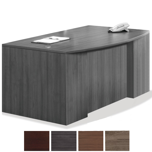 Bow Front Recessed Modesty Panel Executive Bow Desk