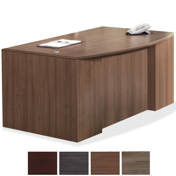 Bow Top Step Front Executive Desk in Modern Walnut