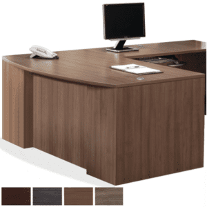 Bow Front Step Front L Shaped Executive Desk in Modern Walnut - Right Return