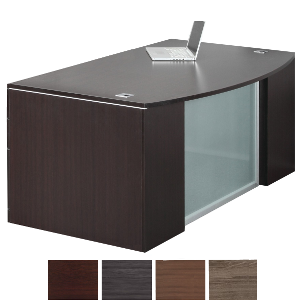 Step Front Executive Bow Top Desk with Smoked Glass Modesty Panel