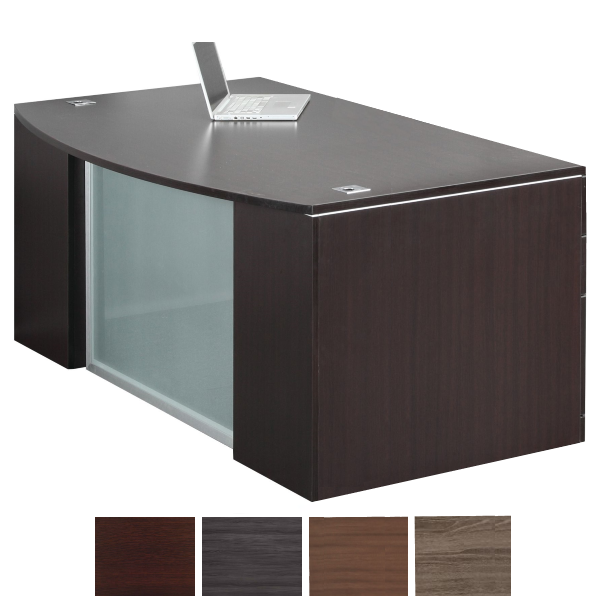 PL Recessed Glass Front Executive Desk in Espresso