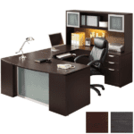 Recessed Glass Modesty Executive U Desk and Glass Door Hutch - Right Return