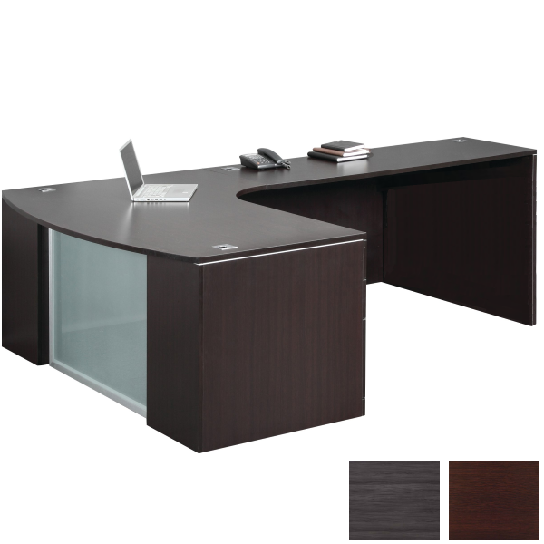 Recessed Glass Front Interior Curve L-Desk from Office Source