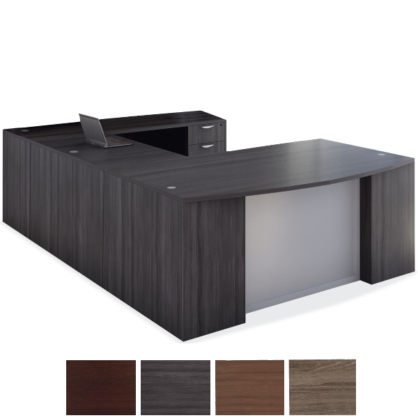 Right Handed U Desk with Glass Front Modesty Panel