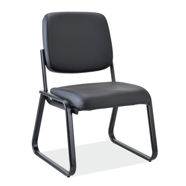 Office Source Sled Base Guest Chair - No Arms - Black Vinyl