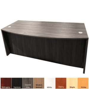 Bow Front Executive Desk in Coastal Gray