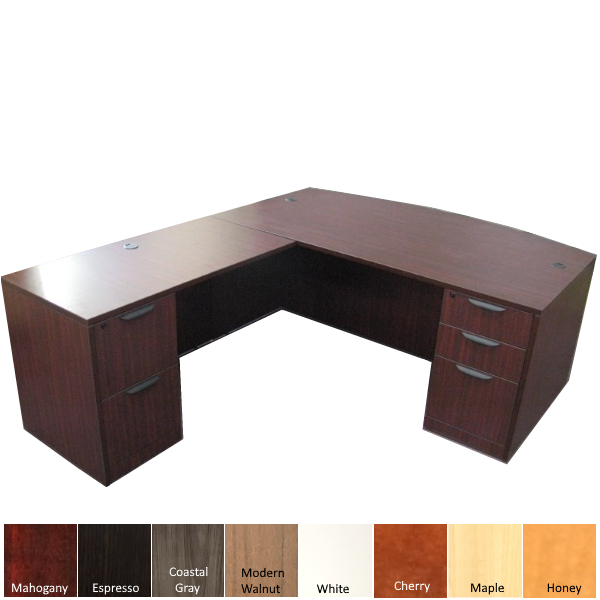 Bow Front Executive L-Desk with Left Hand Return