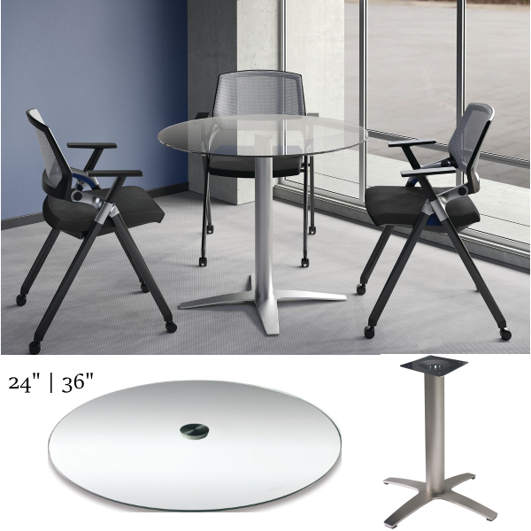 Office Source COE Clear Glass Modern Round Table Room Setting